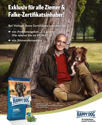 Happy Dog Werbeanzeige - Kooperation mit Ziemer & Falke