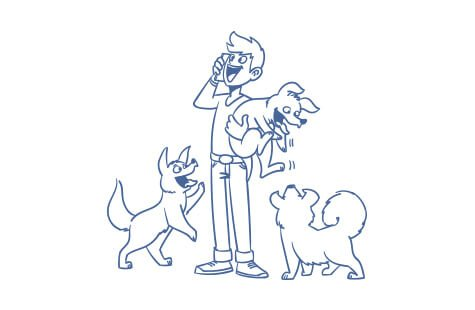 Z&F-family Illustration Mann mit 3 Hunden