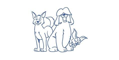 Z&F-family Illustration dreier Hunde
