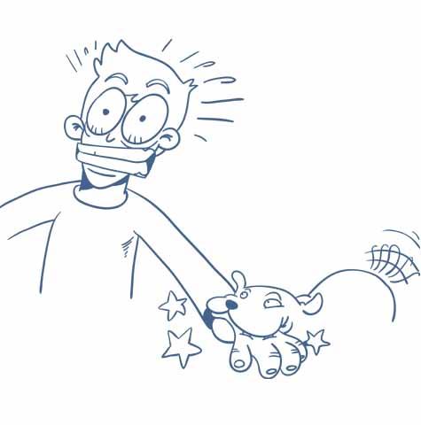 Betriebshaftpflichtversicherung Illustration Hund beißt Mensch