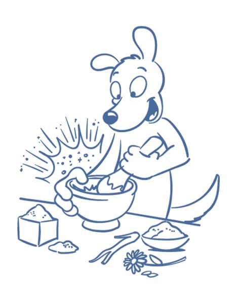Coach für Mentale Aromatherapie Illustration Hund Mörser und Stößel