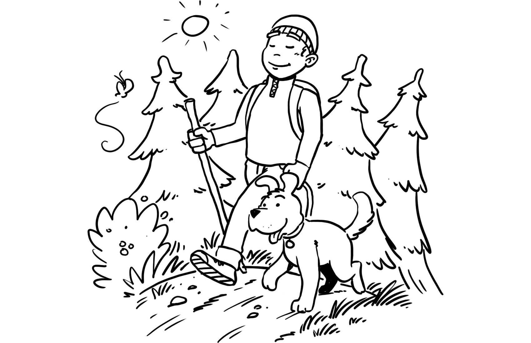 Illustration - Hundehalter läuft mit seinem Hund durch die Natur