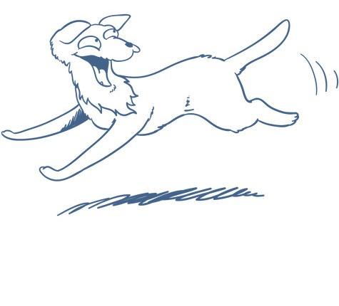 Illustration eines rennenden Hundes