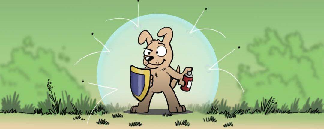 Illustration eines Hundes der sich comichaft gegen Insekten verteidigt