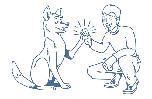 Mann und Hund geben sich High-Five