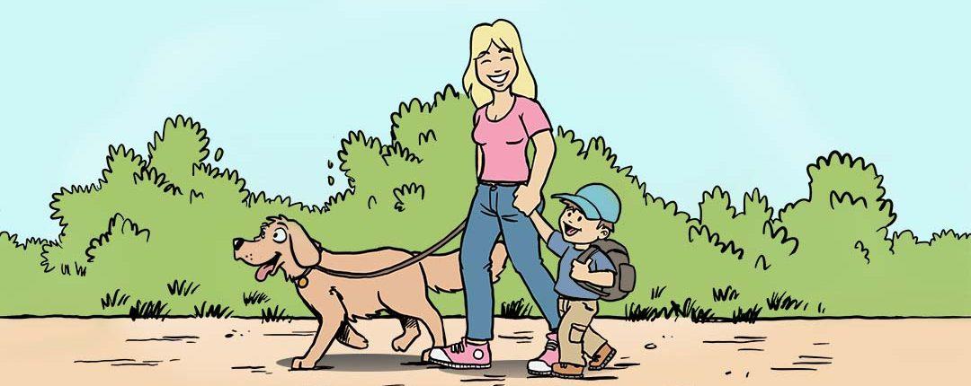 Mutter geht mit Kind und Hund zur Grundschule