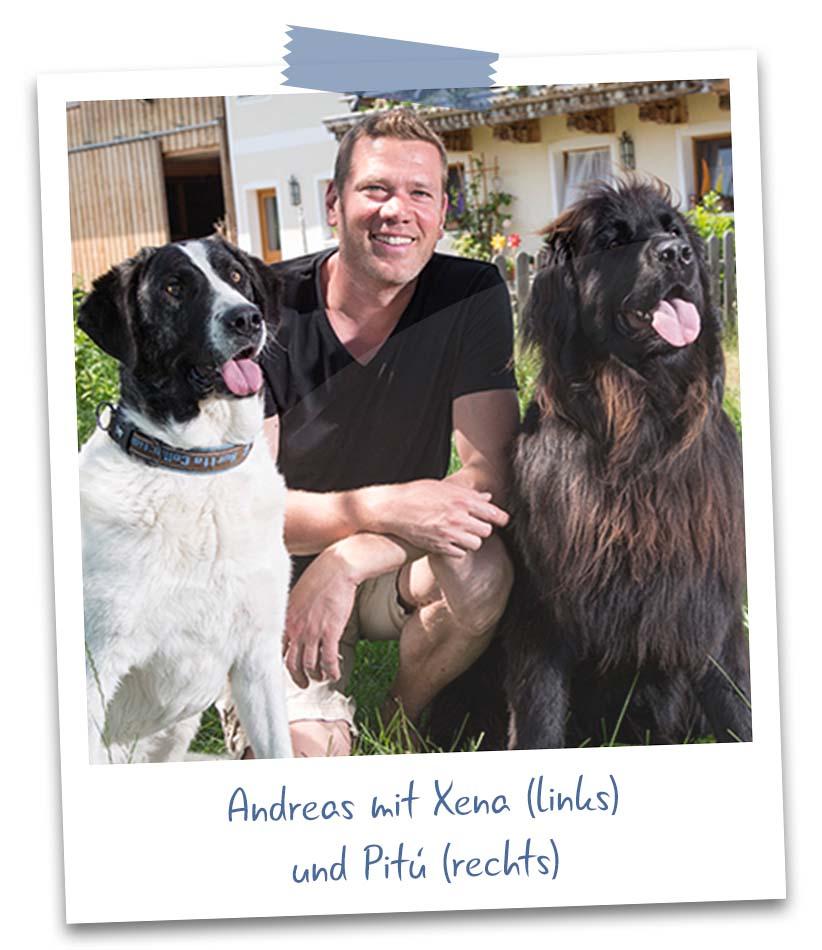 Andreas W. mit Xena und Pitú