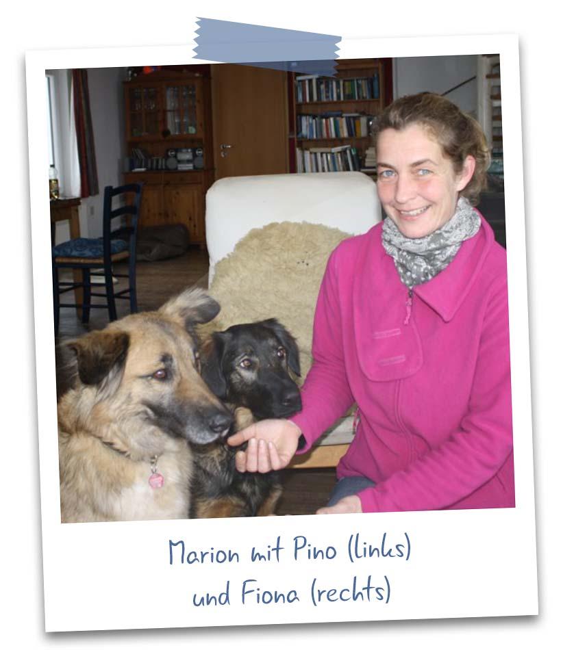 Marion mit Pino und Fiona
