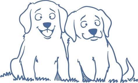 Zeichnung von 2 nebeneinander sitzenden welpen