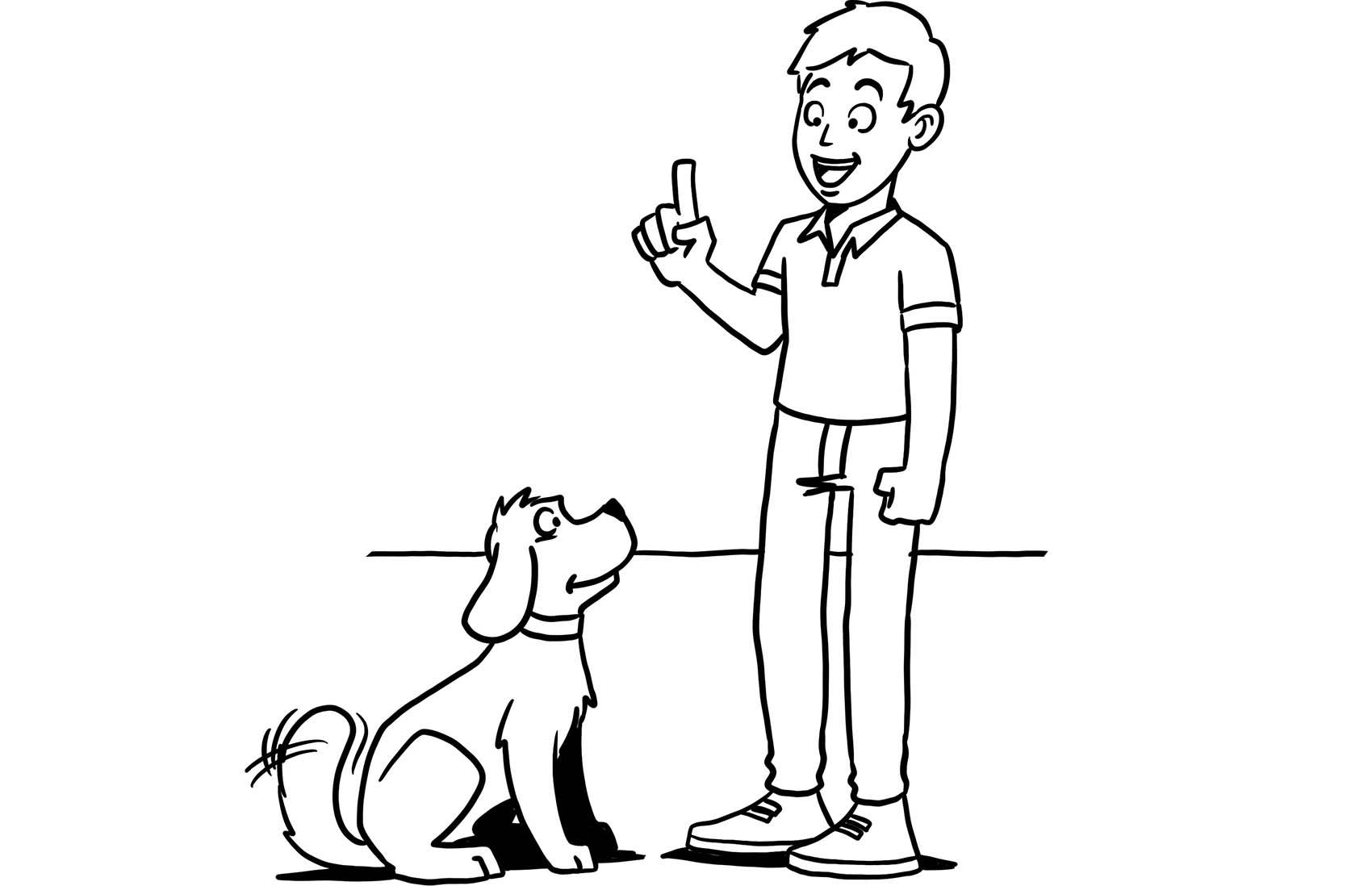 Illustration eines Mannes, der mit seinem Hund trainiert